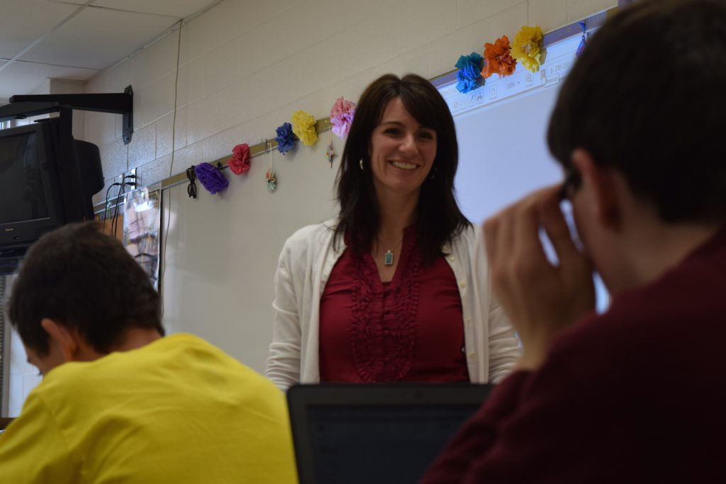 Middle school students interact with students in Spain via Google Classroom